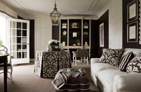 black wall paint and decorative fabrics