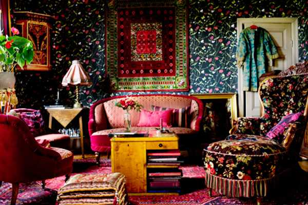 bbright room colors for living room in boho chic style