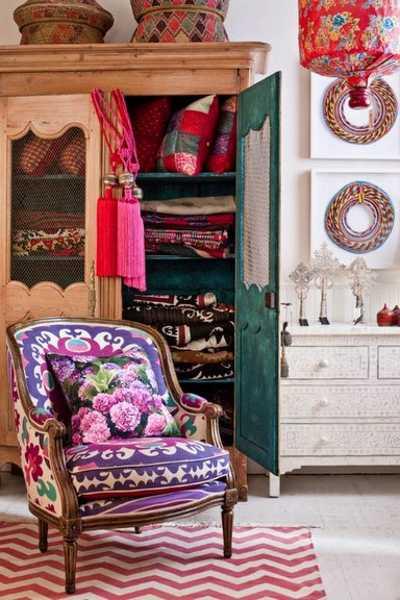bright home fabrics for boho decor style