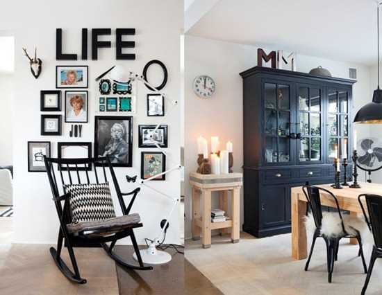 black furniture and picture frames