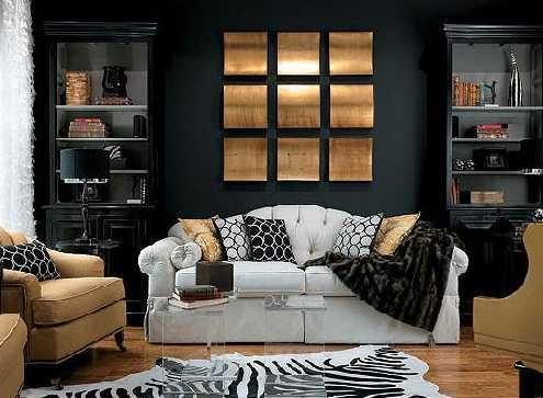 black wall paint and sofa cushions