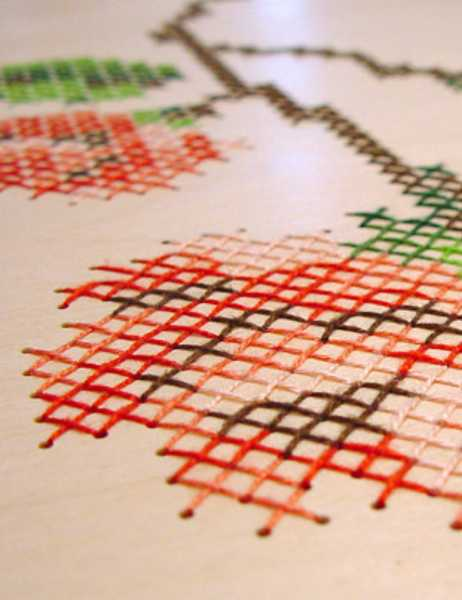 cross stitching wood surface, craft ideas
