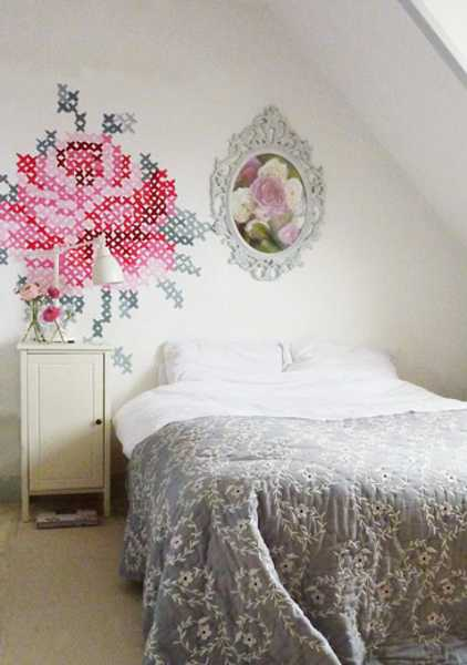 bedroom wall decorating with cross stitch pattern