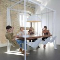 modern table design with hanging chairs