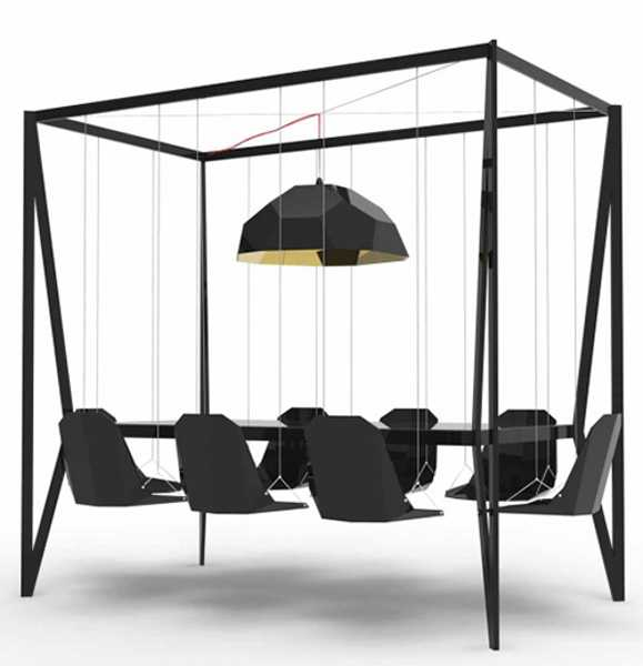 Couch Hanging Table: Playful Swing Table Design Adding Fun To Dining Room