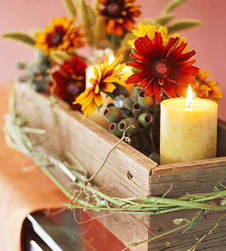 candle and flower centerpiece idea