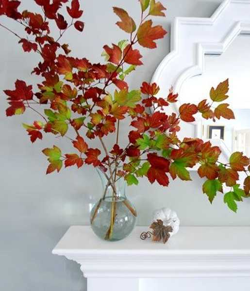Glass Vase With Fall Leaves For Fireplace Mantel Decorating