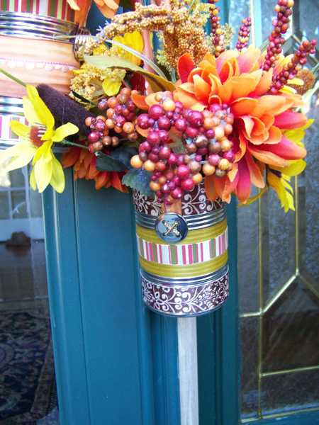 recycling cans for floral arrangements