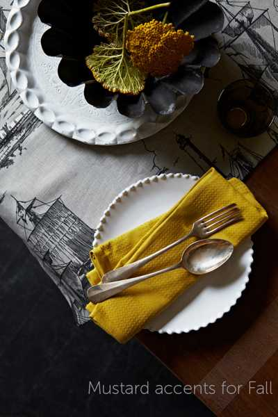 table decor with yellow color accents