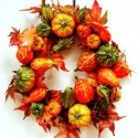 door wreath made of vegetables
