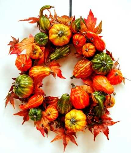 Door wreaths offering great craft ideas and cheap fall decorations