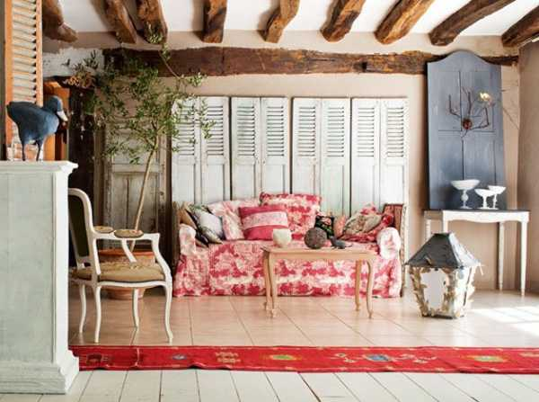 pink sofa and recycled window shutters, vintage furniture and wood ceiling design