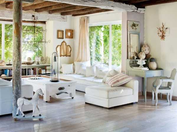 White Living Room Furniture And Reclaimed Wood Ceiling Design