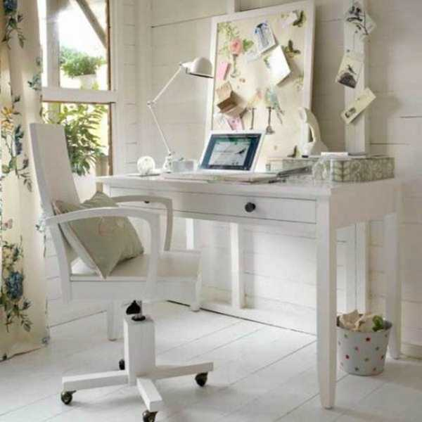 white furniture for home office in vintage style