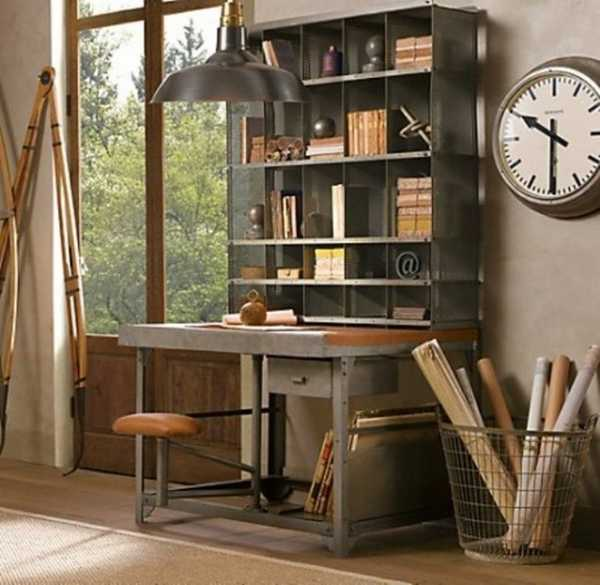 30 modern home office decor ideas in vintage style Industrial home office design ideas