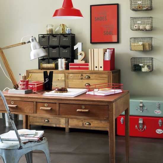 red accents for home office decorating