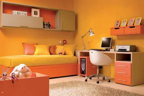 yellow and orange color scheme for kids room decorating