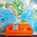 orange sofa upholstery fabric and blue map on wall