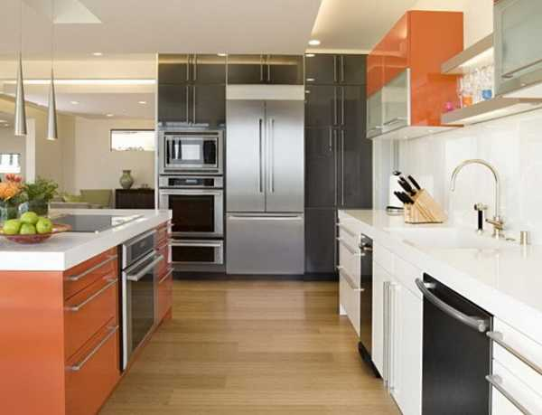 orange and white kitchen cabinets