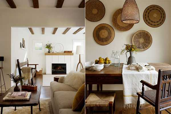 brown colors and jute for modern interior decorating