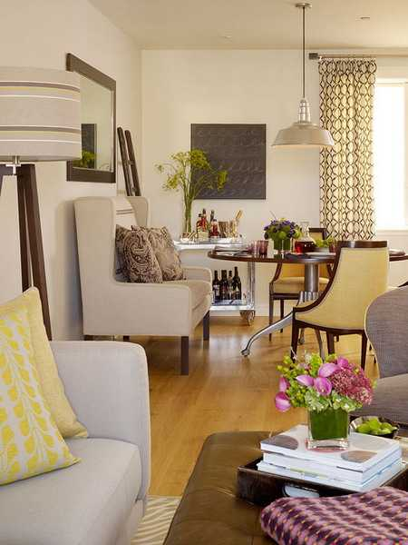 neutral room colors with jellow accents