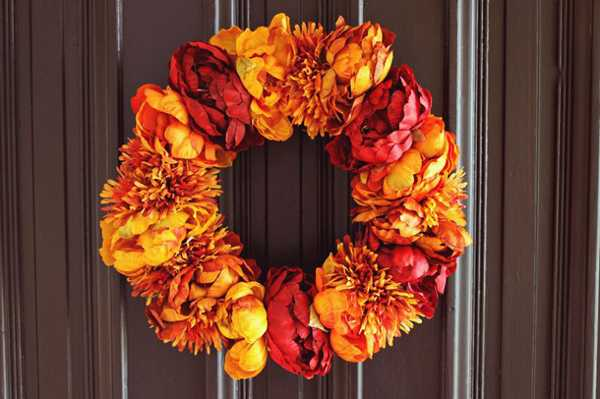 fall flowers wreath for door decorating