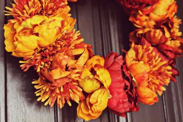 yellow orange flowers wreath for wall decoration