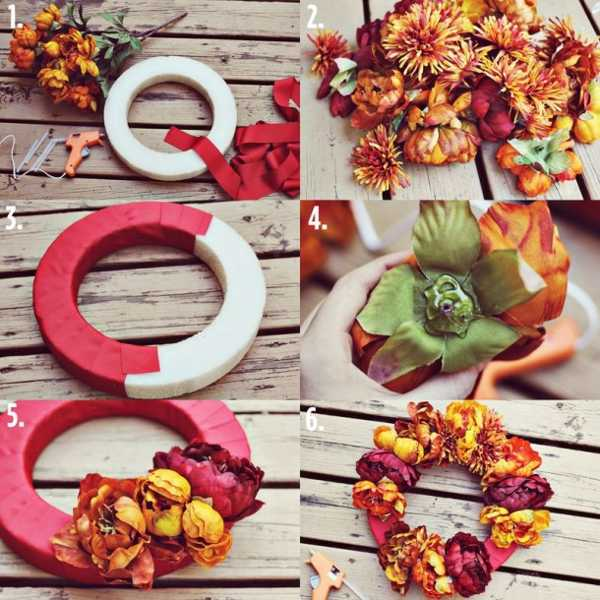 handmade fall wreath with flowers