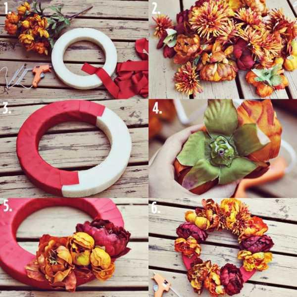 handmade fall wreath with flowers