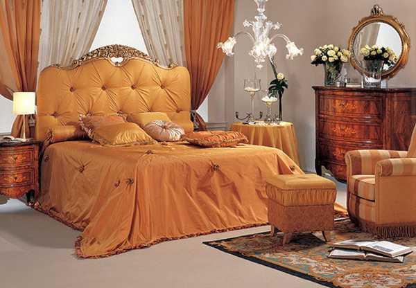 bedroom furniture and bedding fabrics in orange colors