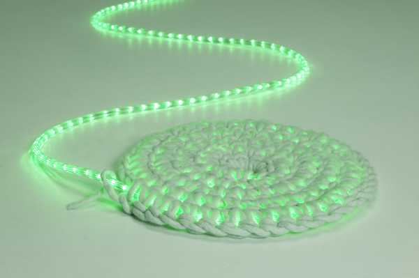 crocheted rug with green led lights