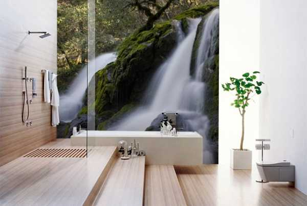 waterfall photo mural for bathroom decorating