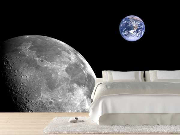 bedroom decor with modern wall mural and moon images