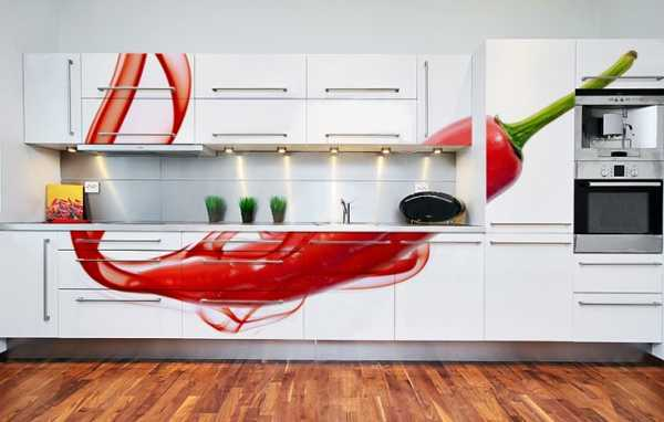 photo wallpaper used for kitchen cabinets decorating