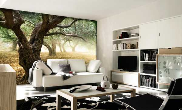 living room design with wall mural