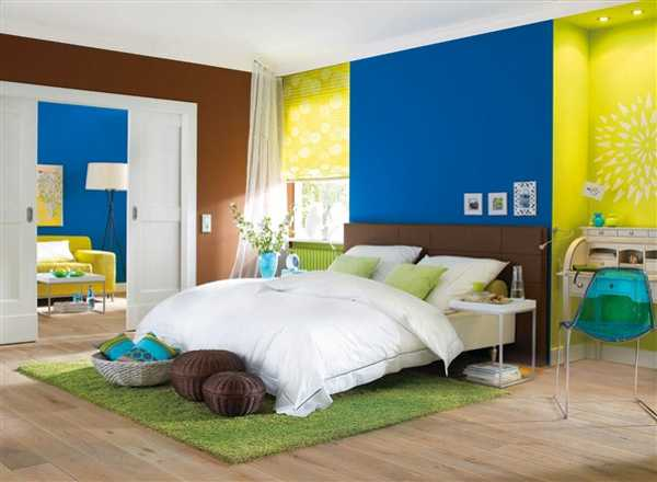 lime yellow blue and brown colors for interior decorating