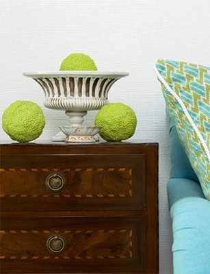 bedroom decorating with lime, blue and brown colors