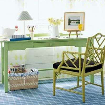 green blue and brown color combination for home office decorating