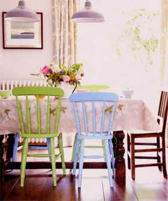 dining room decorating with light green, blue and brown colors
