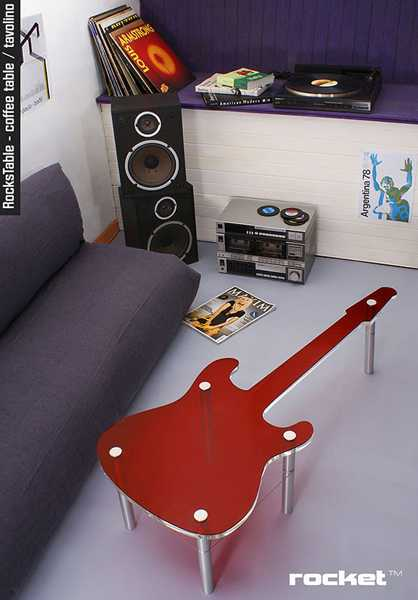 guitar coffee table in red