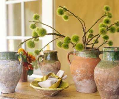 ceramic vases and flower arrangements