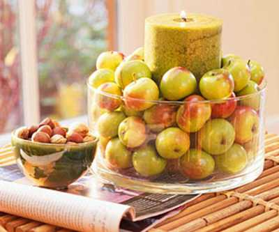 candle table centerpiece ideas with apples