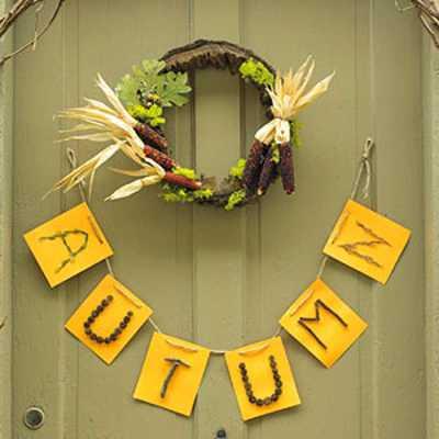 autumn leters and door wreath