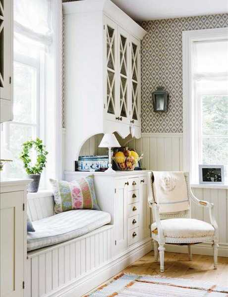 wood window bench and chair in white