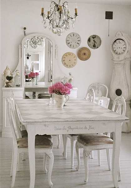 vintage furniture and decor for wall, shabby chic mirror and table with chairs