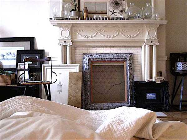 antique fireplace and painting frames