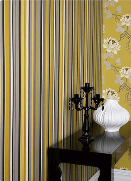 yellow gray and black wallpaper with stripes