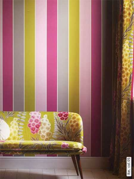 pink and green wallpaper with stripes