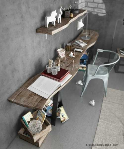 wood desk and shelf on concrete wall