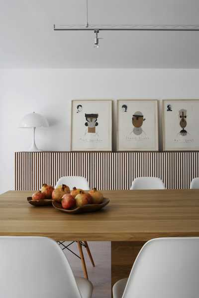 wood dining table and wall decoration